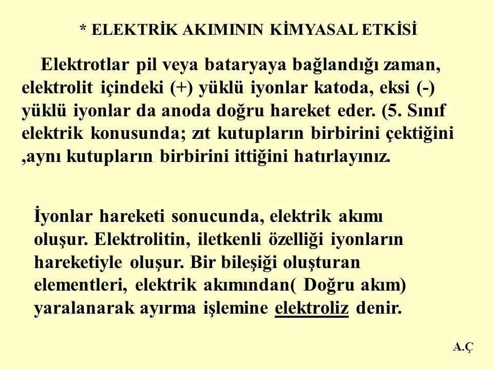A.Ç * ELEKTRİK AKIMININ KİMYASAL ETKİSİ Katot -Anot + + + - - Elektrot Tuzlu su elektrik akımını iletir.
