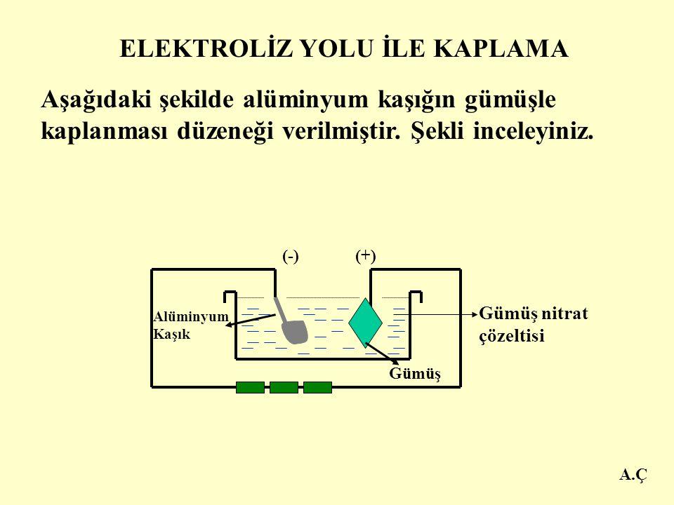 A.Ç Elektrotlara akım verilince, bir süre sonra katoda asılan kaplanacak olan metalin üzeri, ince bir tabaka ile kaplanır. Anoda asılan kaplama metali