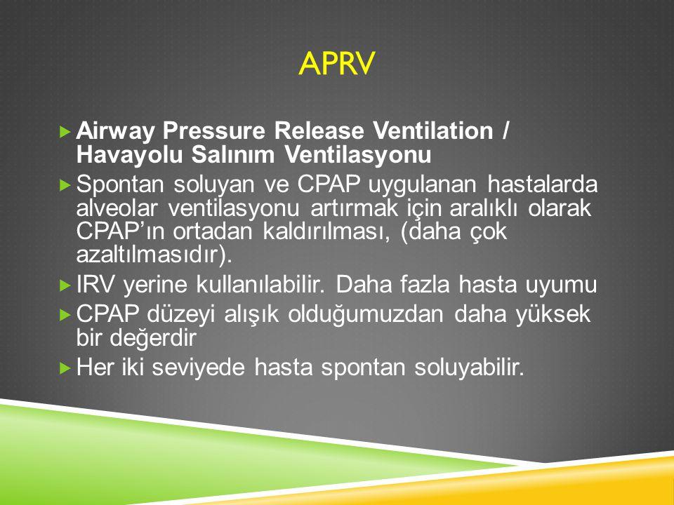 APRV  Airway Pressure Release Ventilation / Havayolu Salınım Ventilasyonu  Spontan soluyan ve CPAP uygulanan hastalarda alveolar ventilasyonu artırm