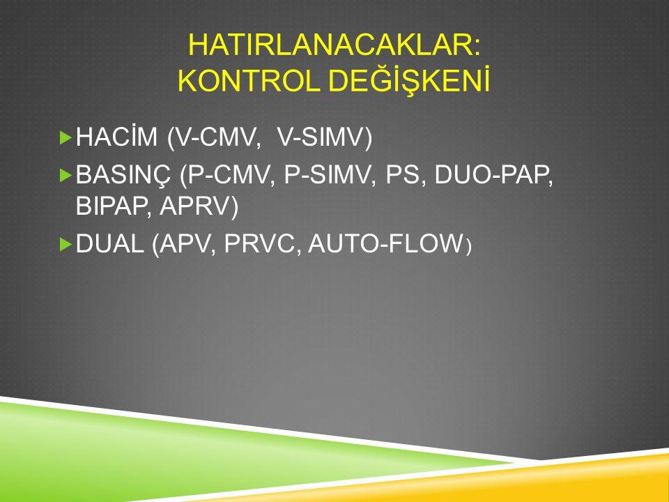 HATIRLANACAKLAR: KONTROL DEĞİŞKENİ  HACİM (V-CMV, V-SIMV)  BASINÇ (P-CMV, P-SIMV, PS, DUO-PAP, BIPAP, APRV)  DUAL (APV, PRVC, AUTO-FLOW )