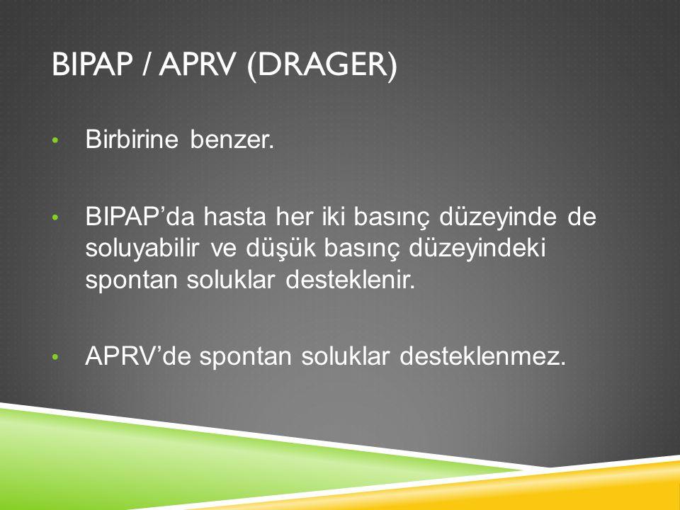 BIPAP / APRV (DRAGER) Birbirine benzer. BIPAP'da hasta her iki basınç düzeyinde de soluyabilir ve düşük basınç düzeyindeki spontan soluklar destekleni