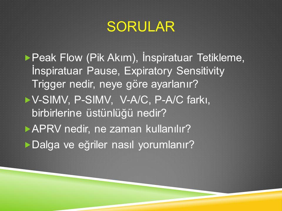 SORULAR  Peak Flow (Pik Akım), İnspiratuar Tetikleme, İnspiratuar Pause, Expiratory Sensitivity Trigger nedir, neye göre ayarlanır?  V-SIMV, P-SIMV,