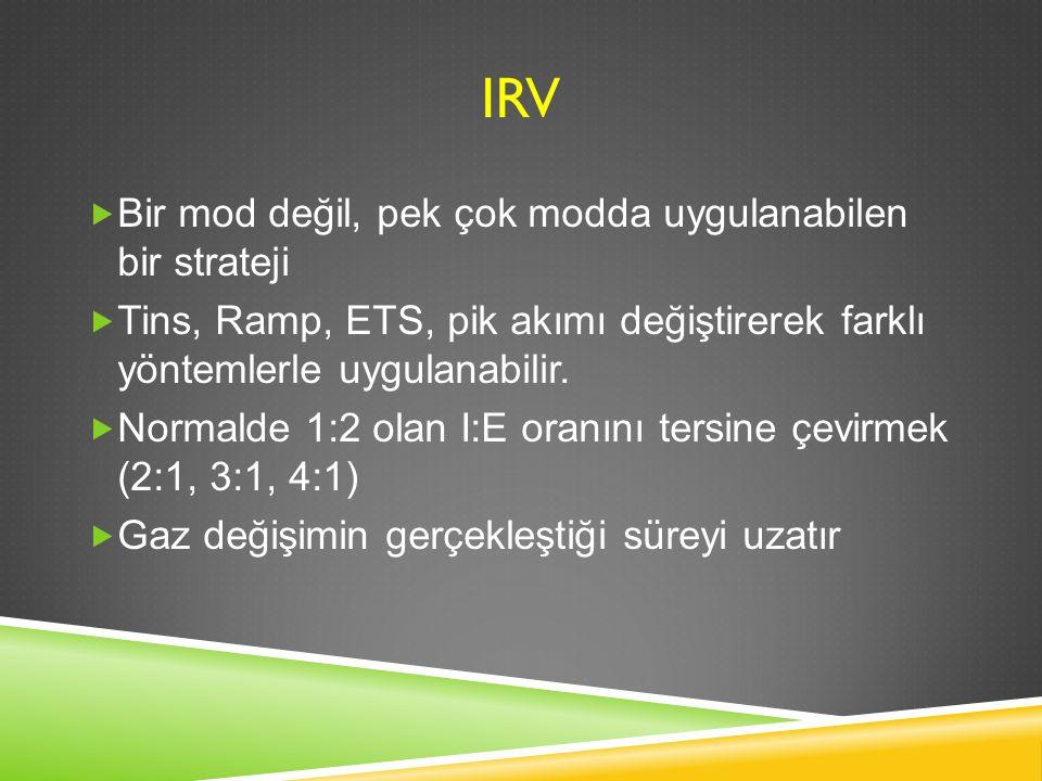 IRV  Bir mod değil, pek çok modda uygulanabilen bir strateji  Tins, Ramp, ETS, pik akımı değiştirerek farklı yöntemlerle uygulanabilir.  Normalde 1