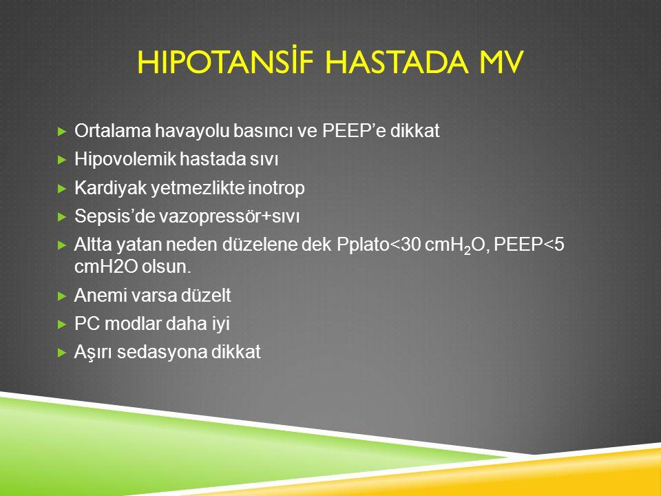 HIPOTANS İ F HASTADA MV  Ortalama havayolu basıncı ve PEEP'e dikkat  Hipovolemik hastada sıvı  Kardiyak yetmezlikte inotrop  Sepsis'de vazopressör
