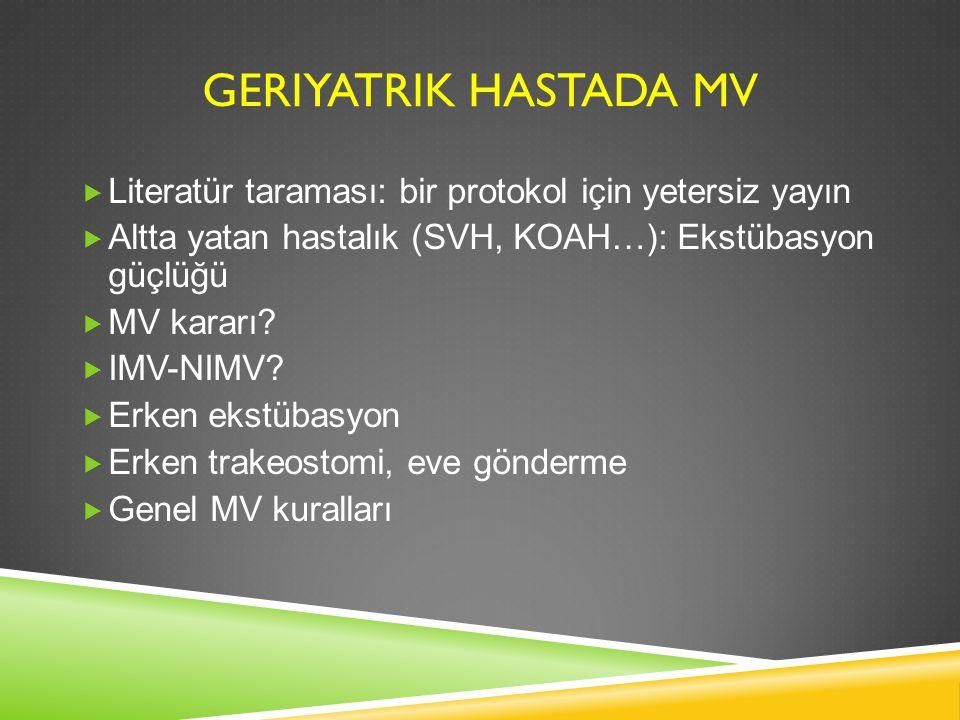 GERIYATRIK HASTADA MV  Literatür taraması: bir protokol için yetersiz yayın  Altta yatan hastalık (SVH, KOAH…): Ekstübasyon güçlüğü  MV kararı?  I