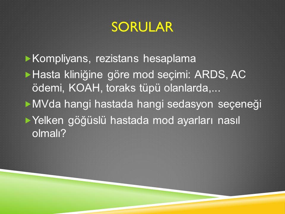 SORULAR  Kompliyans, rezistans hesaplama  Hasta kliniğine göre mod seçimi: ARDS, AC ödemi, KOAH, toraks tüpü olanlarda,...  MVda hangi hastada hang