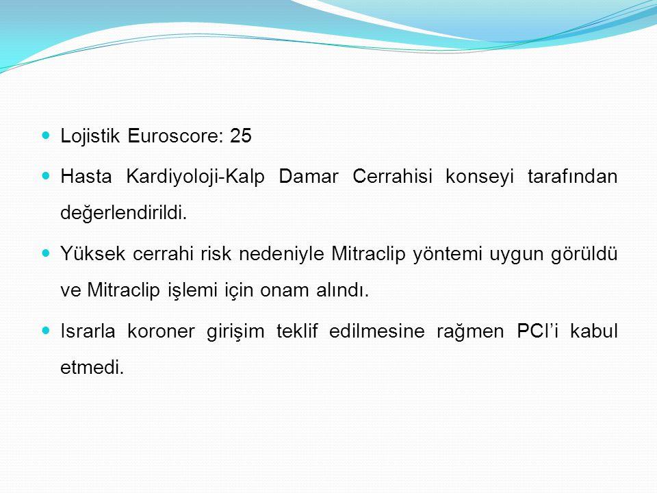 Lojistik Euroscore: 25 Hasta Kardiyoloji-Kalp Damar Cerrahisi konseyi tarafından değerlendirildi.