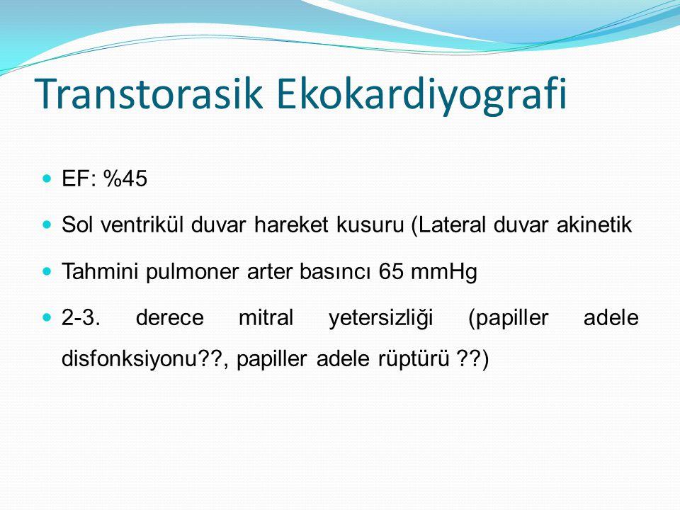 Transtorasik Ekokardiyografi EF: %45 Sol ventrikül duvar hareket kusuru (Lateral duvar akinetik Tahmini pulmoner arter basıncı 65 mmHg 2-3.