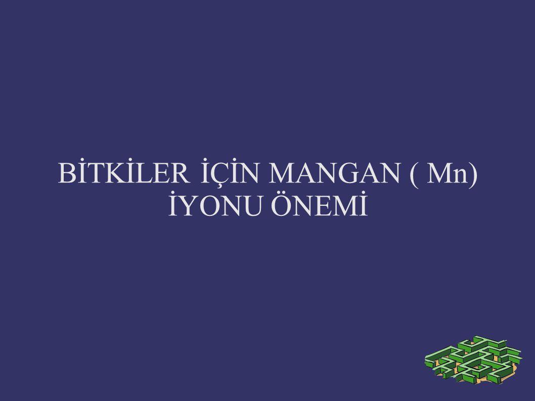 MANGAN ( Mn ) Mangan alınımını en fazla etkileyen faktör toprak pH' sıdır.