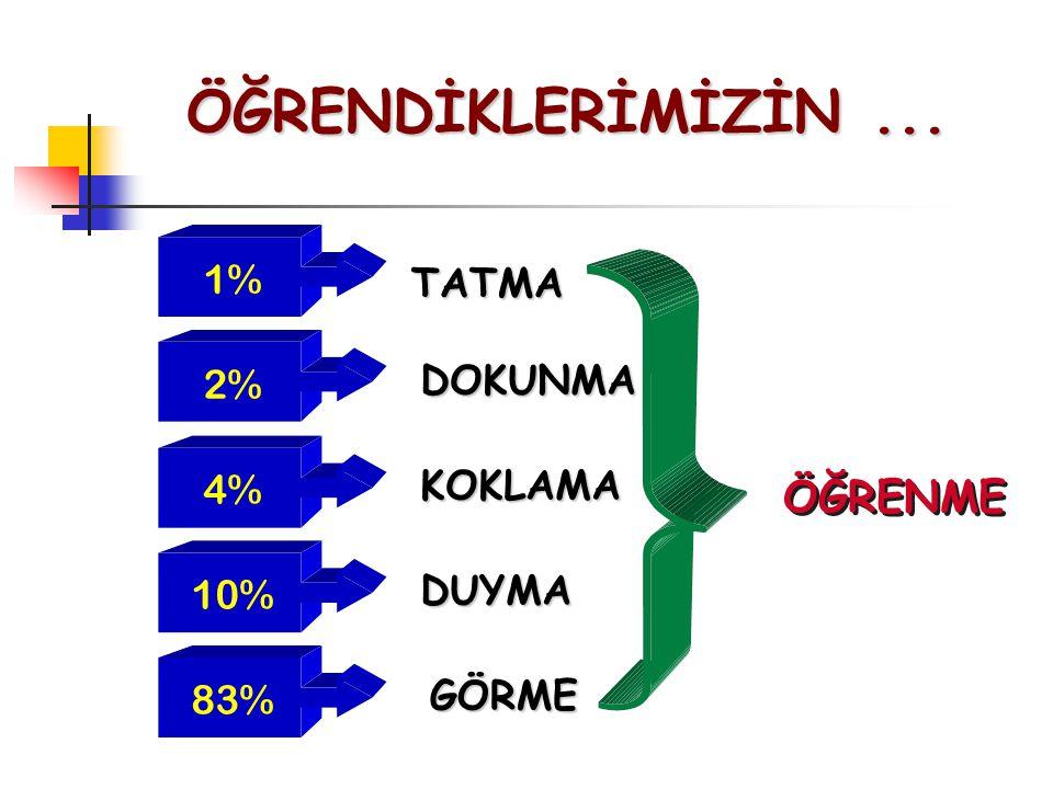 1% 2% 4% 10% 83% TATMA DOKUNMA KOKLAMA DUYMA GÖRME ÖĞRENME ÖĞRENDİKLERİMİZİN...