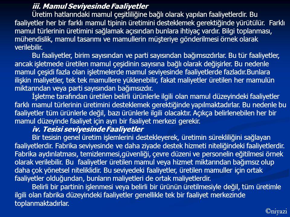 iii. Mamul Seviyesinde Faaliyetler Üretim hatlarındaki mamul çeşitliliğine bağlı olarak yapılan faaliyetlerdir. Bu faaliyetler her bir farklı mamul ti