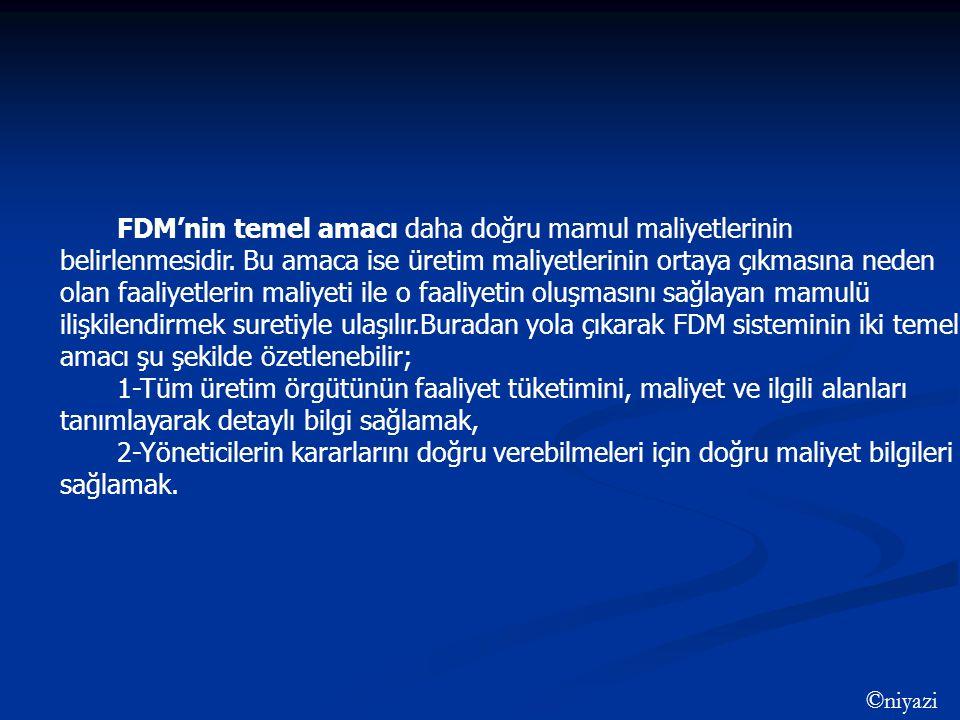 FDM'nin temel amacı daha doğru mamul maliyetlerinin belirlenmesidir. Bu amaca ise üretim maliyetlerinin ortaya çıkmasına neden olan faaliyetlerin mali