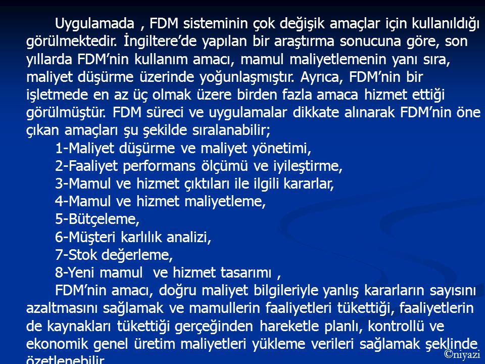 Uygulamada, FDM sisteminin çok değişik amaçlar için kullanıldığı görülmektedir. İngiltere'de yapılan bir araştırma sonucuna göre, son yıllarda FDM'nin