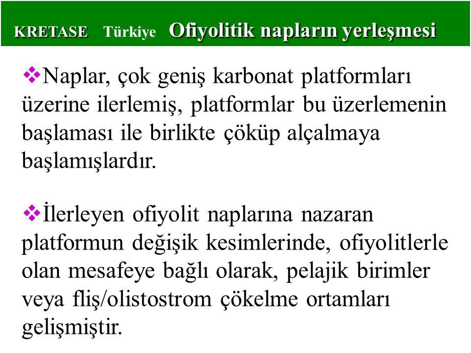 KRETASE Ofiyolitik napların yerleşmesi KRETASE Türkiye Ofiyolitik napların yerleşmesi  Naplar, çok geniş karbonat platformları üzerine ilerlemiş, platformlar bu üzerlemenin başlaması ile birlikte çöküp alçalmaya başlamışlardır.