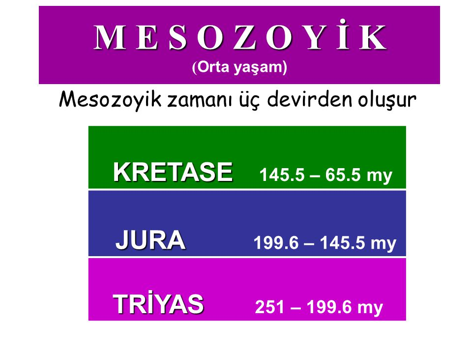 M E S O Z O Y İ K M E S O Z O Y İ K (Orta yaşam) Mesozoyik zamanı üç devirden oluşur KRETASE KRETASE 145.5 – 65.5 my JURA JURA 199.6 – 145.5 my TRİYAS
