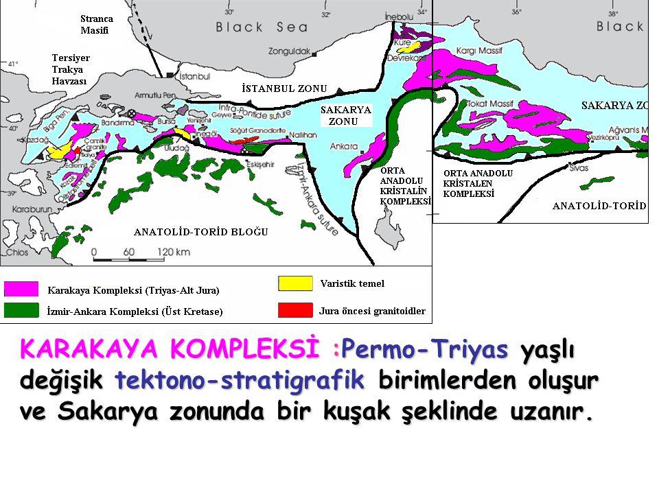 KARAKAYA KOMPLEKSİ :Permo-Triyas yaşlı değişik tektono-stratigrafik birimlerden oluşur ve Sakarya zonunda bir kuşak şeklinde uzanır.