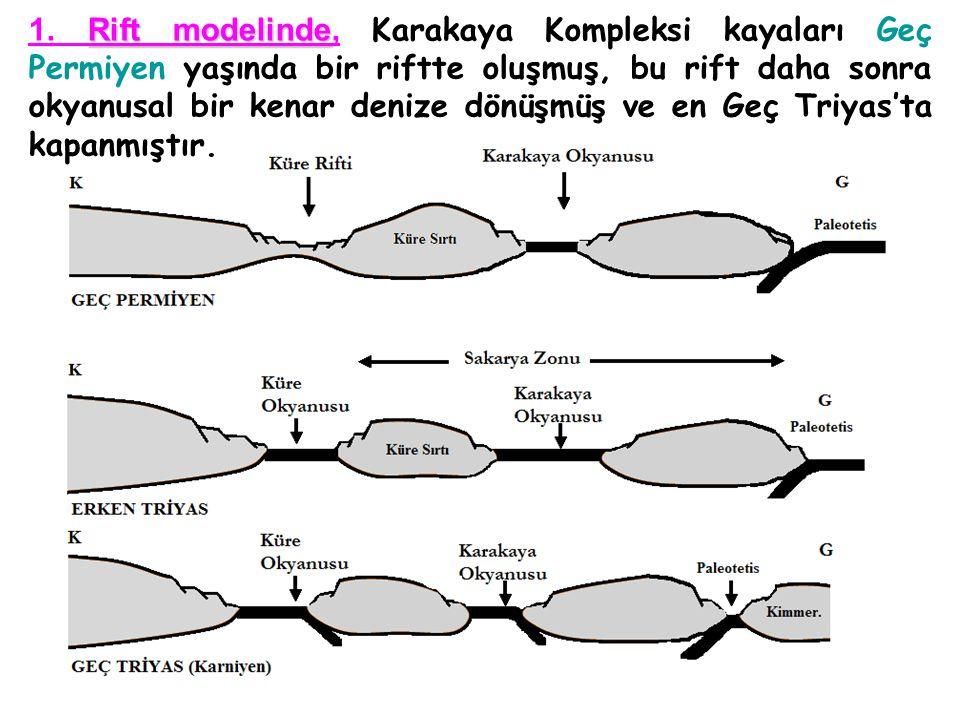 Rift modelinde 1. Rift modelinde, Karakaya Kompleksi kayaları Geç Permiyen yaşında bir riftte oluşmuş, bu rift daha sonra okyanusal bir kenar denize d