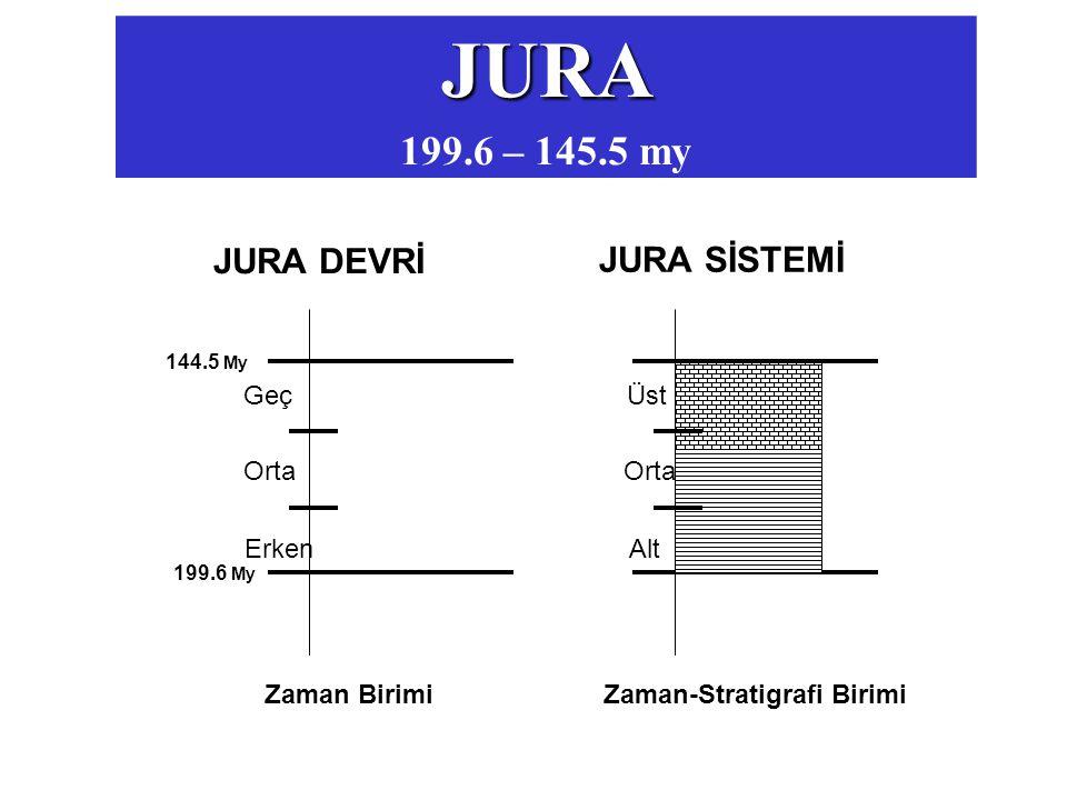 JURA 199.6 – 145.5 my 199.6 My 144.5 My JURA DEVRİ Erken Orta Geç JURA SİSTEMİ Alt Orta Üst Zaman Birimi Zaman-Stratigrafi Birimi