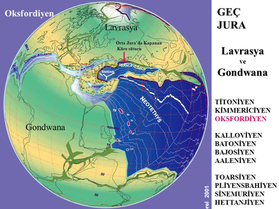 Oksfordiyen TİTONİYENKİMMERİCİYENOKSFORDİYENKALLOVİYENBATONİYENBAJOSİYENAALENİYENTOARSİYENPLİYENSBAHİYENSİNEMURİYENHETTANJİYEN GEÇ JURA LavrasyaveGondwana Lavrasya Gondwana Orta Jura'da Kapanan Küre süturu