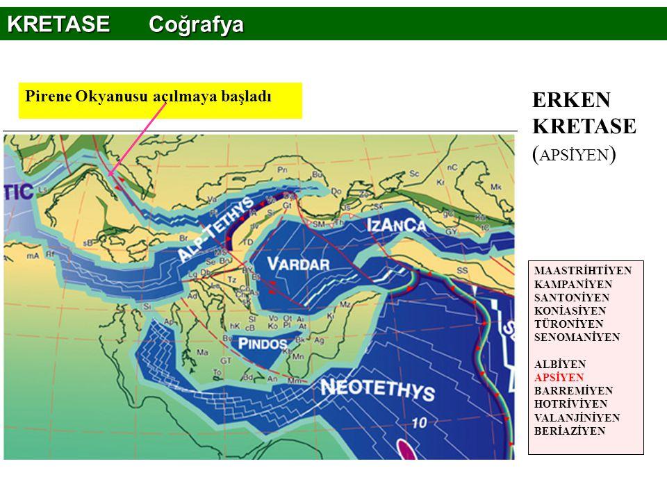 Pirene Okyanusu açılmaya başladı ERKEN KRETASE ( APSİYEN ) KRETASE Coğrafya MAASTRİHTİYEN KAMPANİYEN SANTONİYEN KONİASİYEN TÜRONİYEN SENOMANİYEN ALBİY