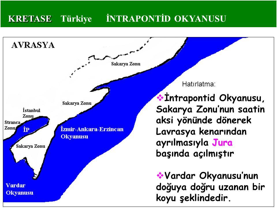 KRETASE KRETASE Türkiye İNTRAPONTİD OKYANUSU Jura  İntrapontid Okyanusu, Sakarya Zonu'nun saatin aksi yönünde dönerek Lavrasya kenarından ayrılmasıyl