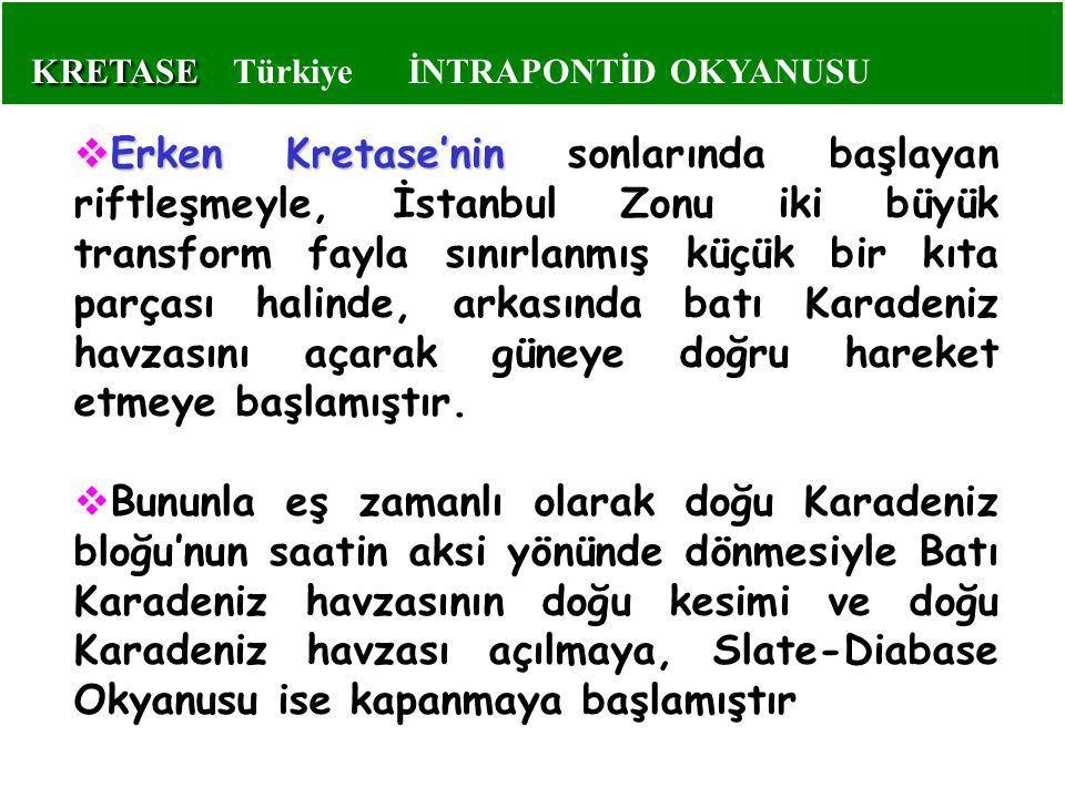  Erken Kretase'nin  Erken Kretase'nin sonlarında başlayan riftleşmeyle, İstanbul Zonu iki büyük transform fayla sınırlanmış küçük bir kıta parçası h