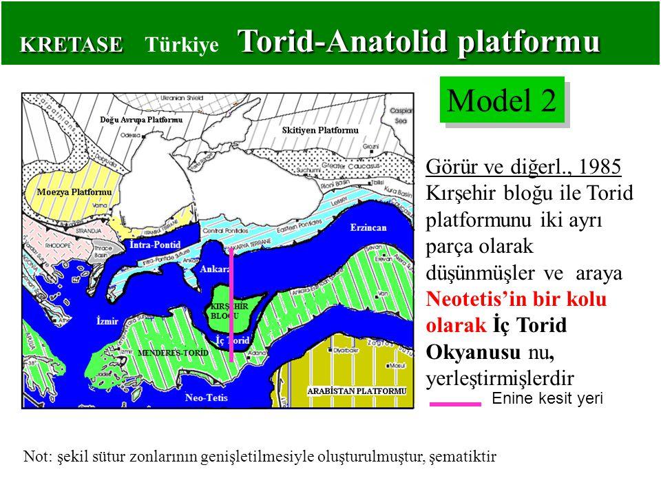 KRETASE Torid-Anatolid platformu KRETASE Türkiye Torid-Anatolid platformu Görür ve diğerl., 1985 Kırşehir bloğu ile Torid platformunu iki ayrı parça olarak düşünmüşler ve araya Neotetis'in bir kolu olarak İç Torid Okyanusu nu, yerleştirmişlerdir Model 2 Not: şekil sütur zonlarının genişletilmesiyle oluşturulmuştur, şematiktir Enine kesit yeri