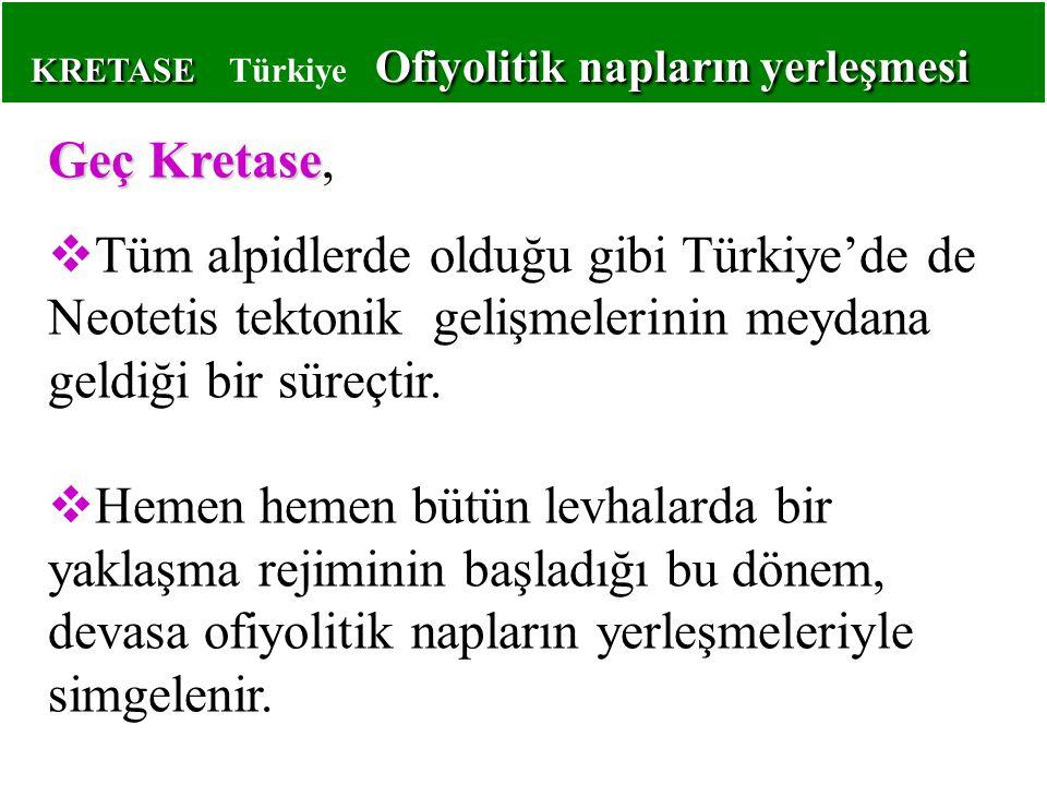 KRETASE Ofiyolitik napların yerleşmesi KRETASE Türkiye Ofiyolitik napların yerleşmesi Geç Kretase Geç Kretase,  Tüm alpidlerde olduğu gibi Türkiye'de de Neotetis tektonik gelişmelerinin meydana geldiği bir süreçtir.