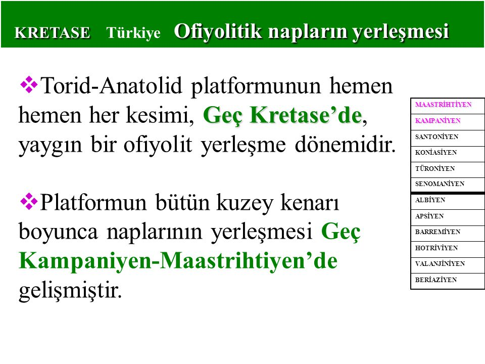 KRETASE Ofiyolitik napların yerleşmesi KRETASE Türkiye Ofiyolitik napların yerleşmesi Geç Kretase'de  Torid-Anatolid platformunun hemen hemen her kes