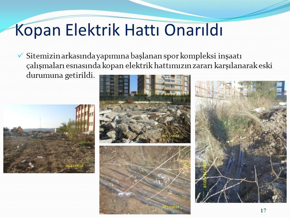 Kopan Elektrik Hattı Onarıldı Sitemizin arkasında yapımına başlanan spor kompleksi inşaatı çalışmaları esnasında kopan elektrik hattımızın zararı karşılanarak eski durumuna getirildi.