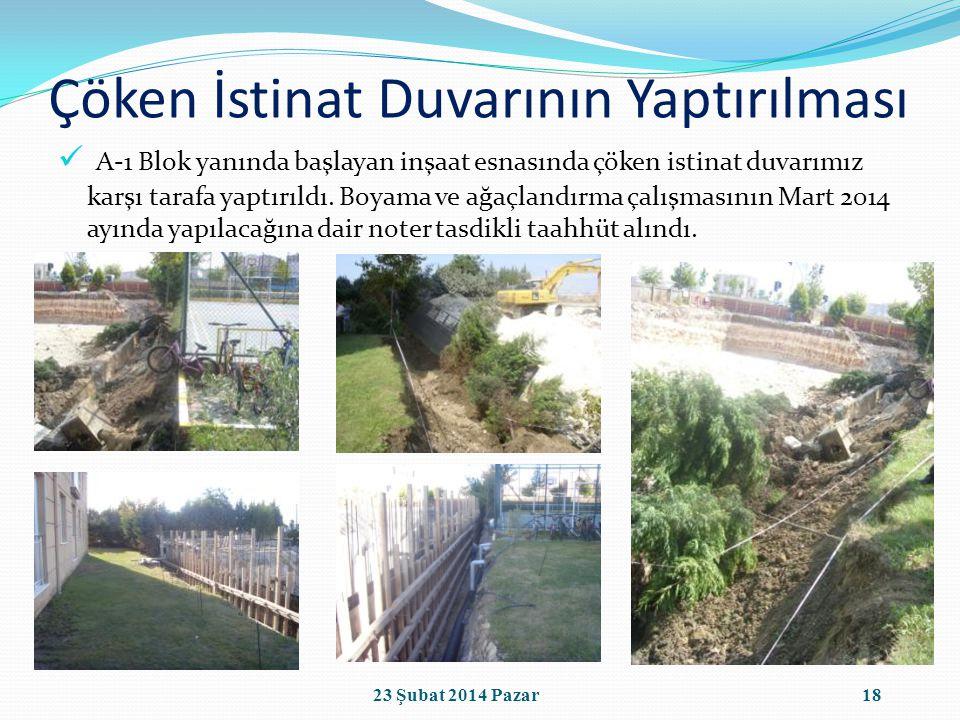 Çöken İstinat Duvarının Yaptırılması A-1 Blok yanında başlayan inşaat esnasında çöken istinat duvarımız karşı tarafa yaptırıldı.