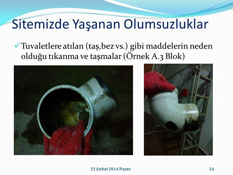Sitemizde Yaşanan Olumsuzluklar Tuvaletlere atılan (taş,bez vs.) gibi maddelerin neden olduğu tıkanma ve taşmalar (Örnek A.3 Blok) 2423 Şubat 2014 Pazar