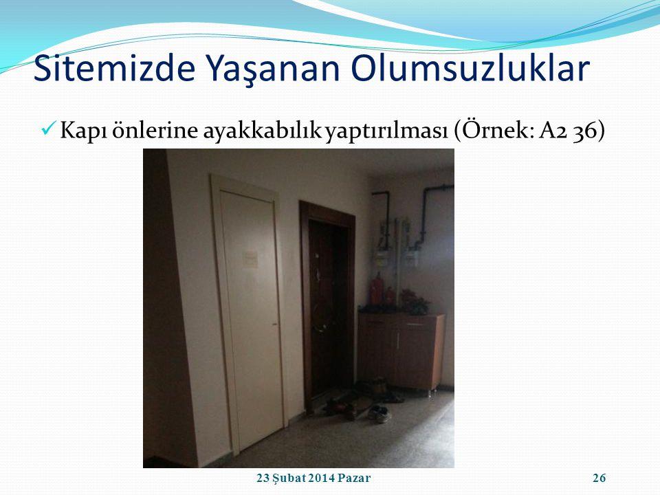 Sitemizde Yaşanan Olumsuzluklar Kapı önlerine ayakkabılık yaptırılması (Örnek: A2 36) 2623 Şubat 2014 Pazar