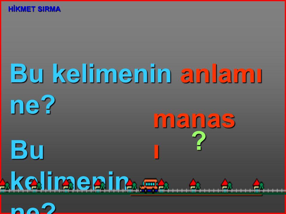 Bu kelimenin anlamı ne? Bu kelimenin_________ ne? manas ı ? HİKMET SIRMA