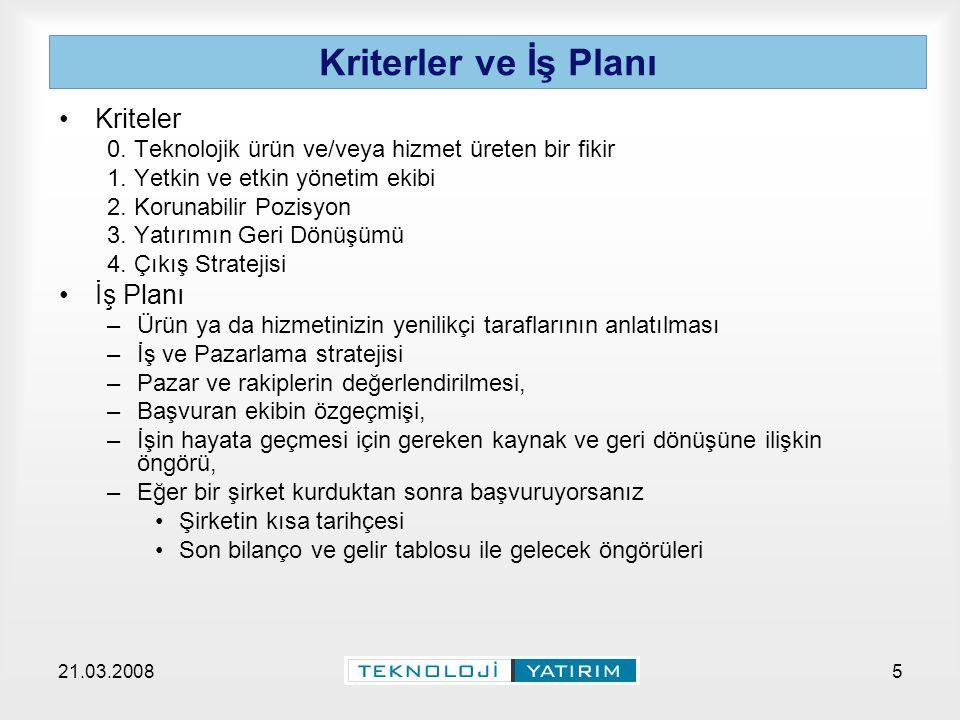 21.03.2008Teknoloji Yatırım A.Ş.5 Kriterler ve İş Planı Kriteler 0.