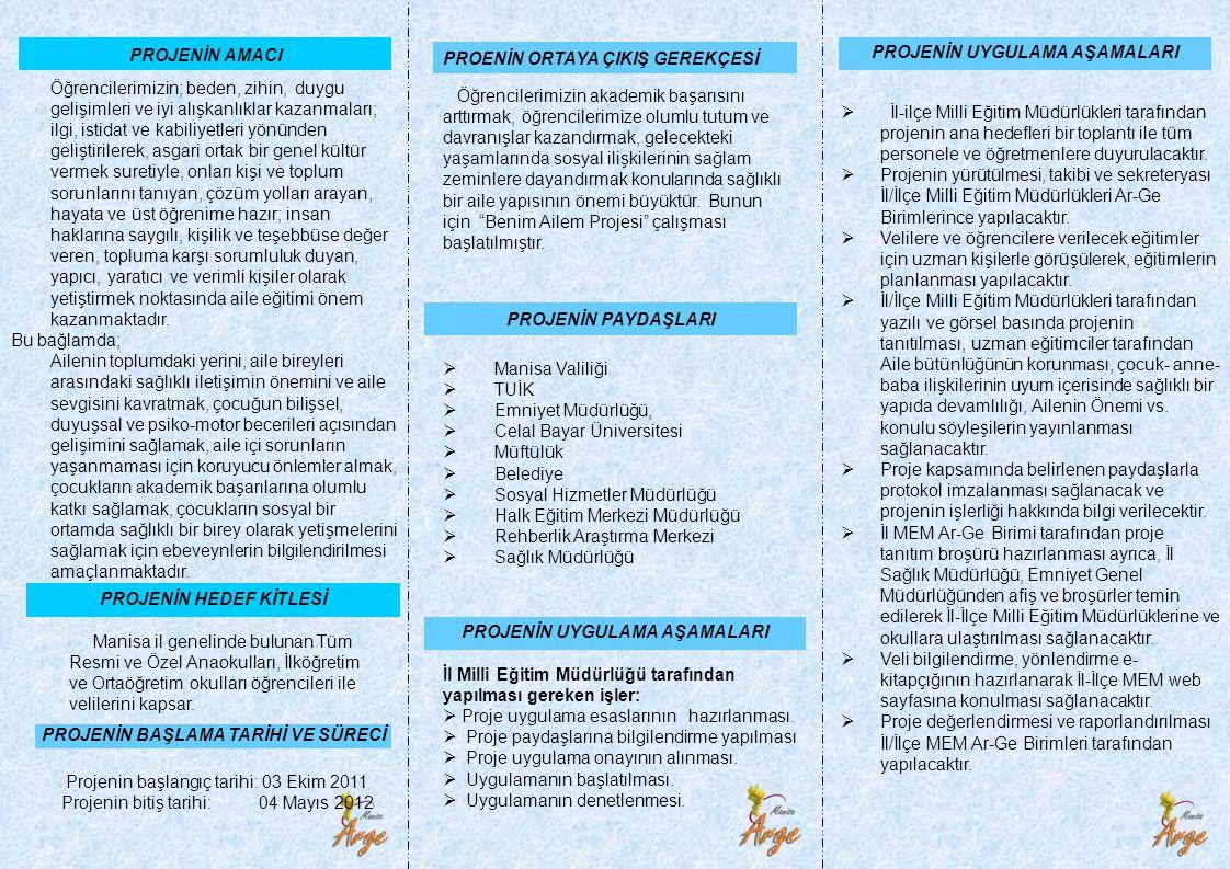 PROJENİN AMACI PROJENİN HEDEF KİTLESİ Manisa il genelinde bulunan Tüm Resmi ve Özel Anaokulları, İlköğretim ve Ortaöğretim okulları öğrencileri ile ve