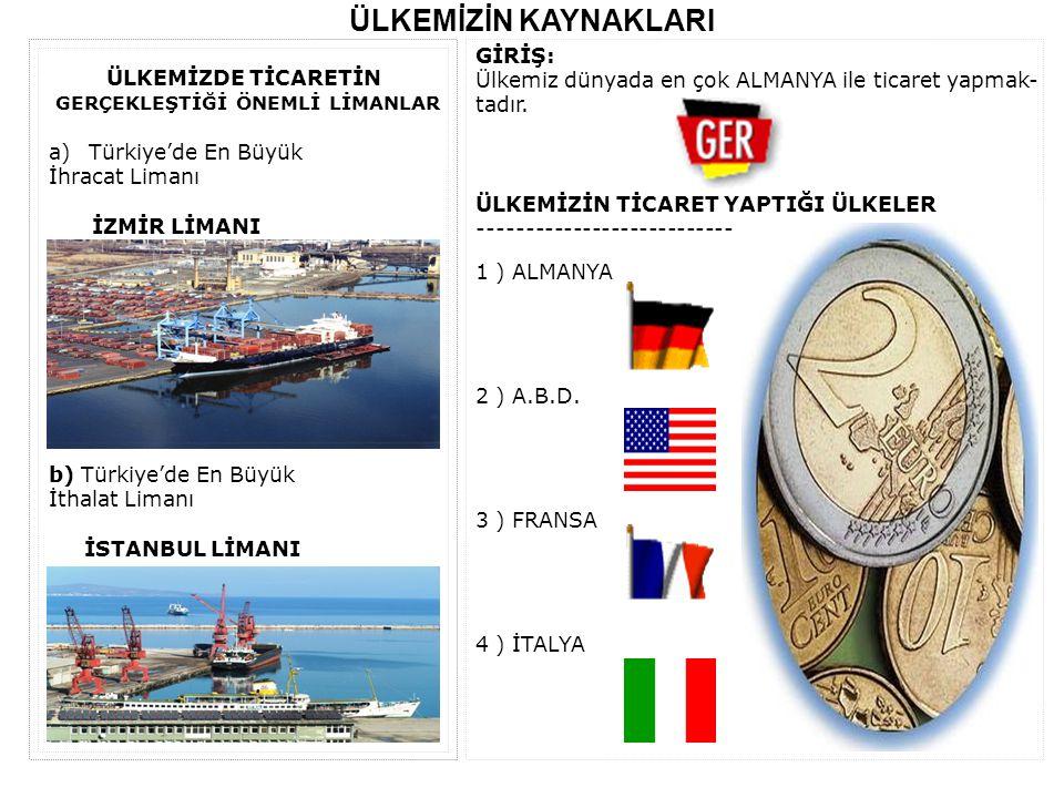 ÜLKEMİZİN KAYNAKLARI GİRİŞ: Ülkemiz dünyada en çok ALMANYA ile ticaret yapmak- tadır. ÜLKEMİZİN TİCARET YAPTIĞI ÜLKELER --------------------------- 1