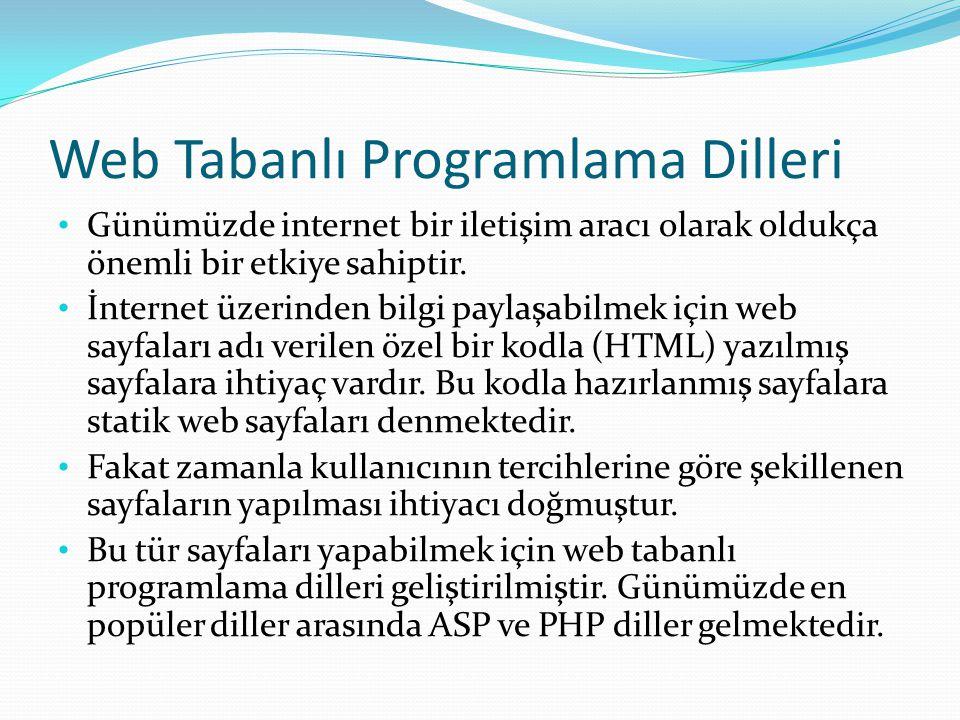 Web Tabanlı Programlama Dilleri Günümüzde internet bir iletişim aracı olarak oldukça önemli bir etkiye sahiptir.