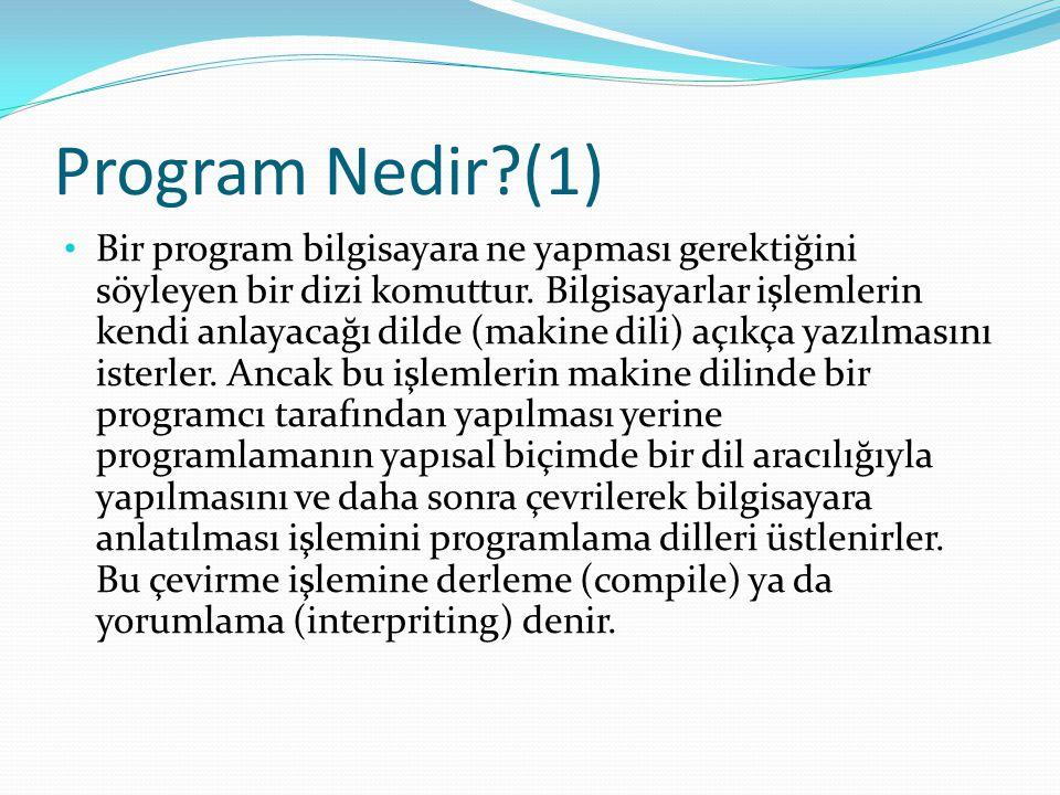 Program Nedir?(1) Bir program bilgisayara ne yapması gerektiğini söyleyen bir dizi komuttur.