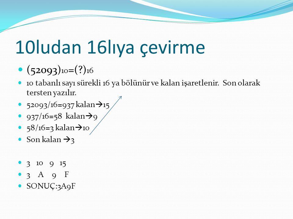 10ludan 16lıya çevirme (52093) 10 =(?) 16 10 tabanlı sayı sürekli 16 ya bölünür ve kalan işaretlenir.