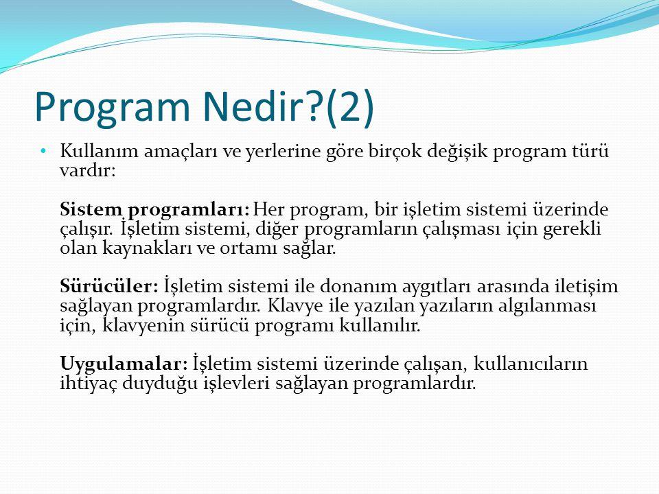 Program Nedir?(2) Kullanım amaçları ve yerlerine göre birçok değişik program türü vardır: Sistem programları: Her program, bir işletim sistemi üzerinde çalışır.
