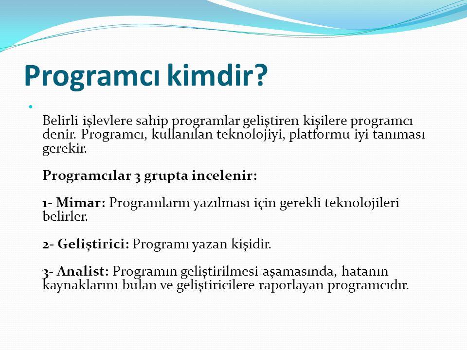 Programcı kimdir.Belirli işlevlere sahip programlar geliştiren kişilere programcı denir.