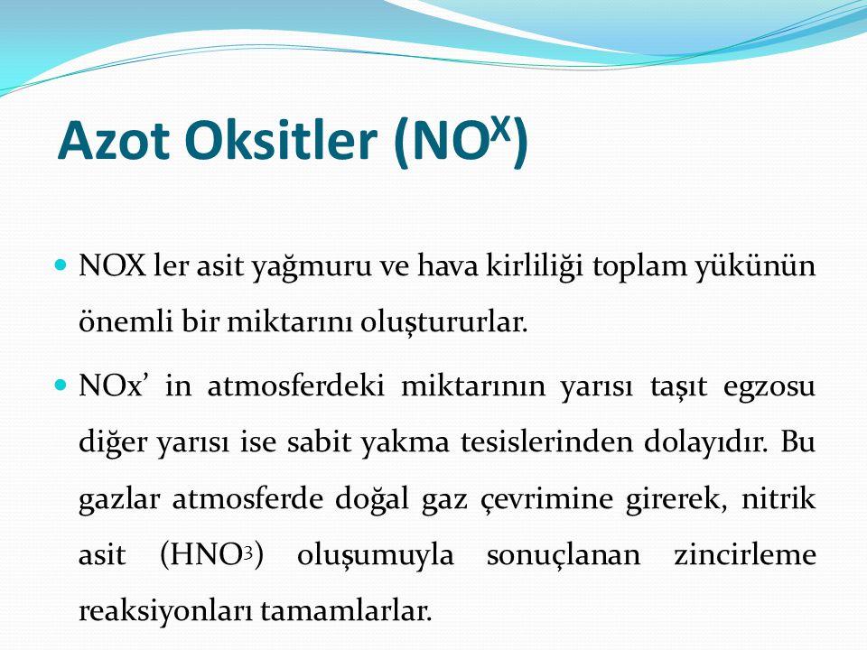 Azot Oksitler (NO X ) NOX ler asit yağmuru ve hava kirliliği toplam yükünün önemli bir miktarını oluştururlar.