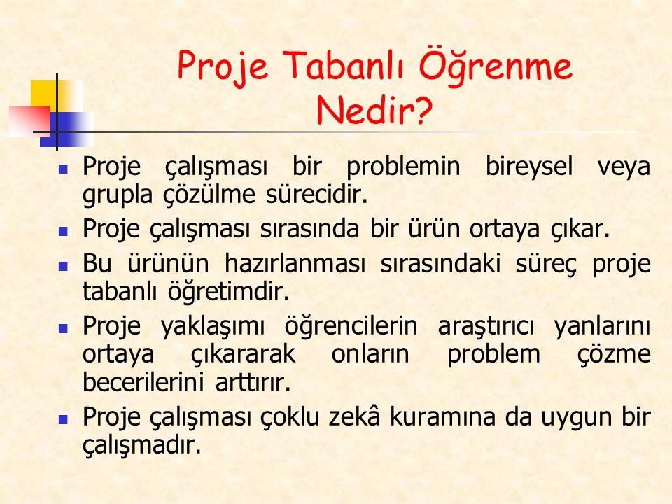 Proje çalışması bir problemin bireysel veya grupla çözülme sürecidir.