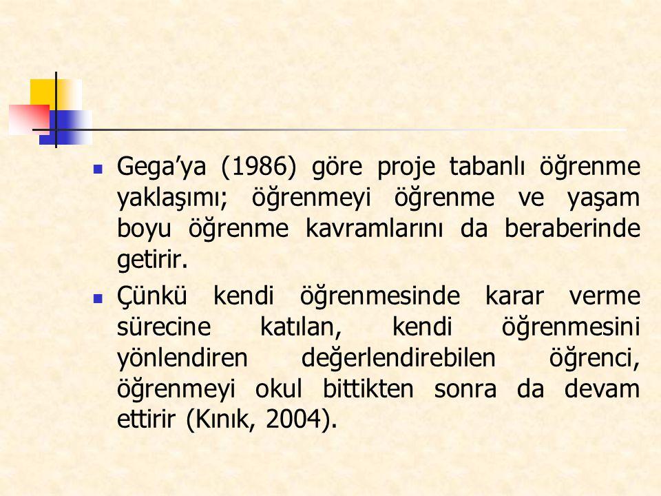 Gega'ya (1986) göre proje tabanlı öğrenme yaklaşımı; öğrenmeyi öğrenme ve yaşam boyu öğrenme kavramlarını da beraberinde getirir.
