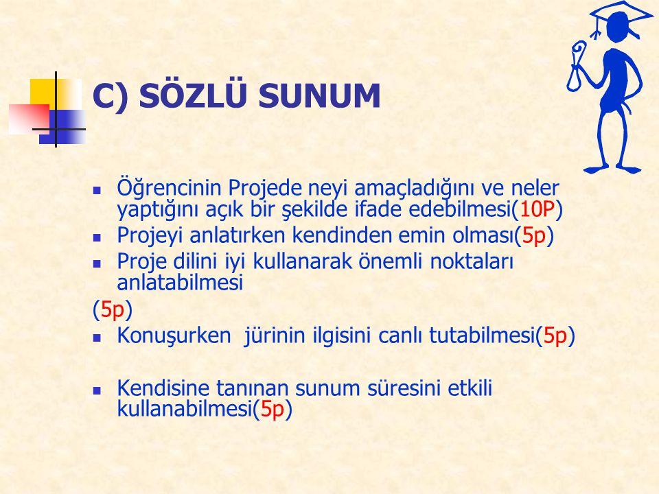 C) SÖZLÜ SUNUM Öğrencinin Projede neyi amaçladığını ve neler yaptığını açık bir şekilde ifade edebilmesi(10P) Projeyi anlatırken kendinden emin olması(5p) Proje dilini iyi kullanarak önemli noktaları anlatabilmesi (5p) Konuşurken jürinin ilgisini canlı tutabilmesi(5p) Kendisine tanınan sunum süresini etkili kullanabilmesi(5p)