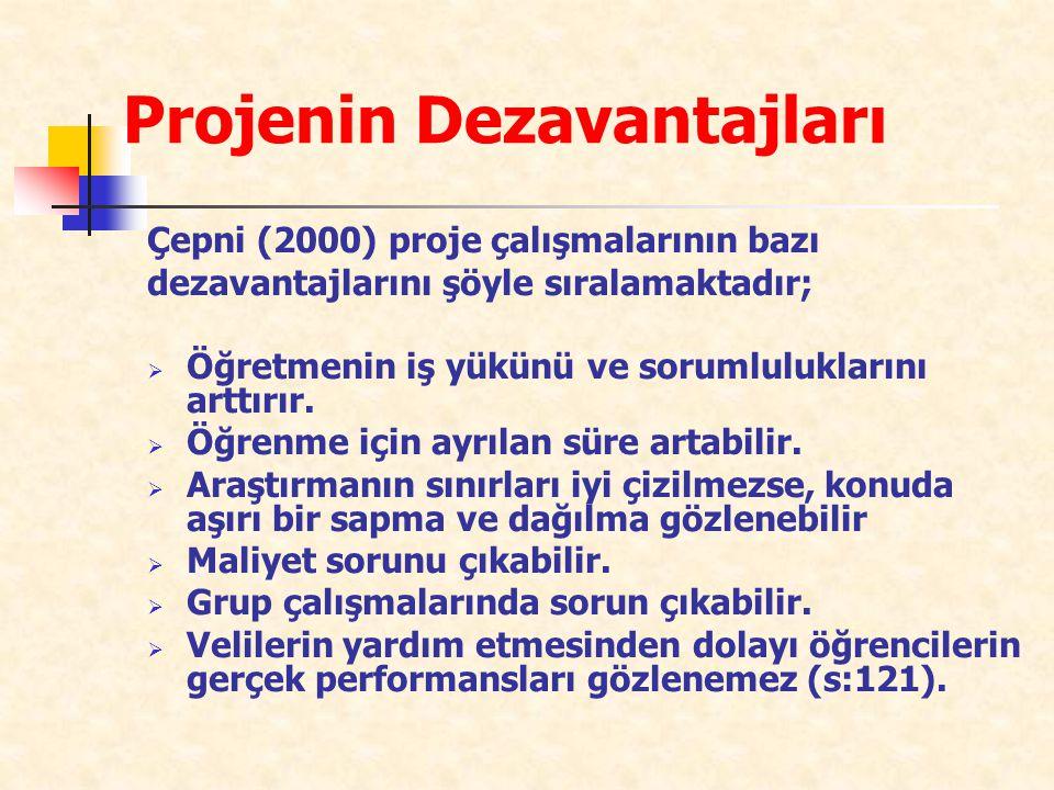 Projenin Dezavantajları Çepni (2000) proje çalışmalarının bazı dezavantajlarını şöyle sıralamaktadır;  Öğretmenin iş yükünü ve sorumluluklarını arttırır.