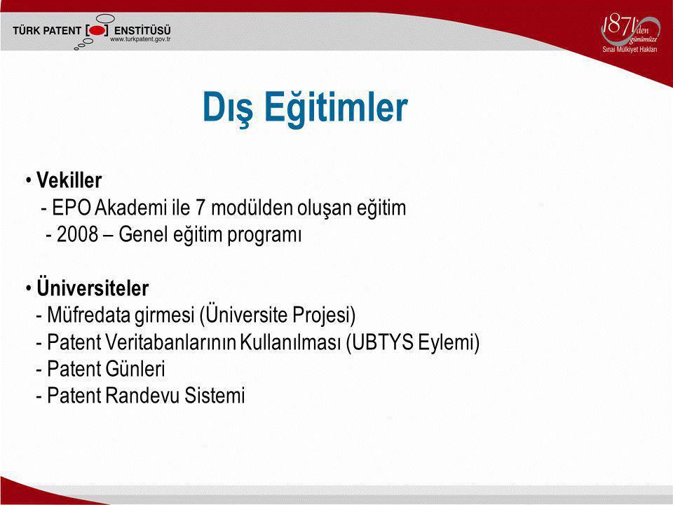 Dış Eğitimler Vekiller - EPO Akademi ile 7 modülden oluşan eğitim - 2008 – Genel eğitim programı Üniversiteler - Müfredata girmesi (Üniversite Projesi