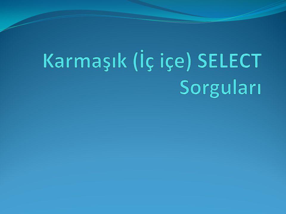 İç içe Select sorguları, bir başka deyişle Alt Sorgu kavramı SQL'de en zorlanılan kısımdır.