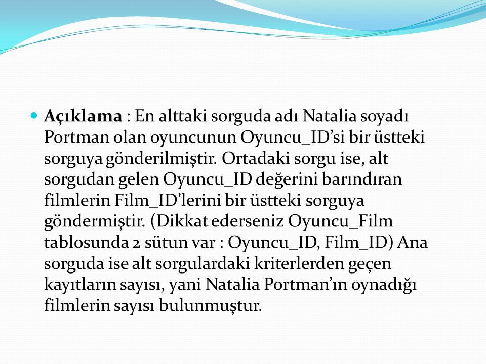 Açıklama : En alttaki sorguda adı Natalia soyadı Portman olan oyuncunun Oyuncu_ID'si bir üstteki sorguya gönderilmiştir. Ortadaki sorgu ise, alt sorgu